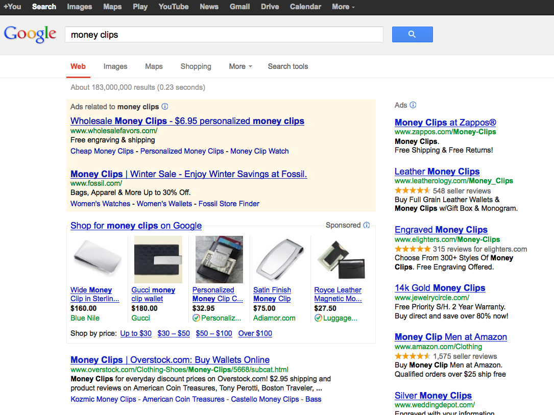 google shopping SERP listings