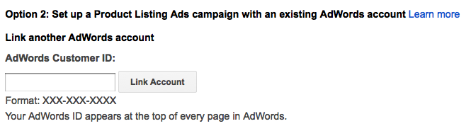 linking an adwords account to merchant center